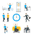 cartoon daily routine character man vector image vector image