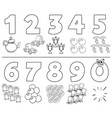cartoon numbers set coloring book vector image vector image