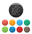 chart icons color set vector image vector image