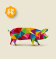 chinese new year 2019 low poly colorful pig card vector image vector image