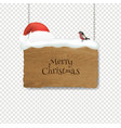 christmas santa claus hat with and wooden banner vector image vector image