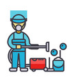 cleaning service houskeeping man cleaner with vector image vector image