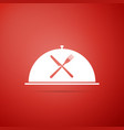 cloche with crossed fork and knife icon vector image