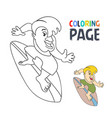 coloring page with surfing player cartoon vector image vector image