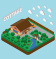 country estate isometric composition vector image vector image