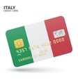 Credit card with Italy flag background for bank vector image vector image