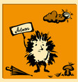 cute hedgehog with a sign hand drawn vector image vector image