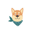cute shiba inu dog head with green scarf bandana vector image vector image