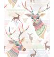 deers boho pattern vector image vector image