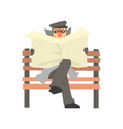 detective character sitting on a bench and spying vector image vector image