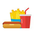 fast food hot dog french fries and soda vector image vector image