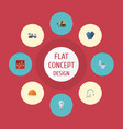 flat icons mitten hardhat bulb and other vector image vector image