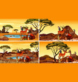 four set animals in field vector image vector image