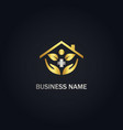 gold house medic nature logo vector image vector image