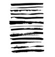grunge ink brush strokes set freehand black vector image