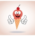 ice cream cone mascot cartoon character vector image vector image