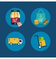 Icons of e-commerce symbols and internet shopping vector image vector image