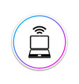 laptop and wireless icon isolated on white vector image vector image