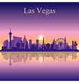 Las Vegas skyline silhouette on sunset background