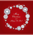 merry christmas card with white snowflakes vector image