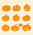 Pumpkin icons with scary faces vector image vector image