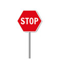 red stop signisolated white background vector image
