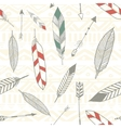 Seamless tribal pattern with feather and arrows in vector image vector image