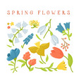 set of cute cartoon spring wild flowers vector image