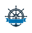 ship wheel and anchor with label vector image