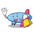 shopping zeppelin character cartoon style vector image
