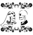 skulls wedding with flourishes vector image vector image