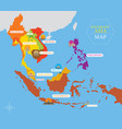 southeast asia map with country icons and location vector image vector image