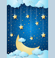 surreal night with big moon and hanging stars vector image vector image
