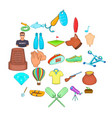 theatrical hobby icons set cartoon style vector image