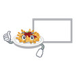 thumbs up with board pasta is served on cartoon vector image vector image