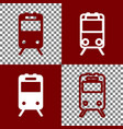 train sign bordo and white icons and line vector image