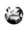 tropical scenery withisland and palm trees vector image vector image
