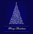 white snowflake christmas tree on dark blue vector image vector image