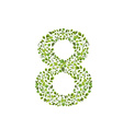Spring green leaves eco number 8 vector image