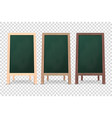 3d realistic blank wooden chalk green board vector image vector image