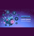artificial intelligence banner with cyber brain vector image vector image