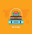 background with colorful bag suitcases tourism vector image