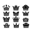 beauty crown silhouettes vector image