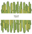 cactuses background green succulent hand drawn vector image vector image