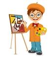 cartoon artist boy vector image vector image