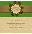 Christmas invitation green and beige vector image vector image