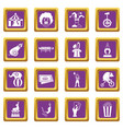 circus entertainment icons set purple vector image vector image