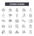 coins line icons signs set outline vector image vector image