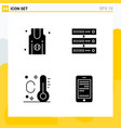 collection 4 universal solid icons icon set vector image vector image