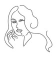 continuous lines sketch portrait a woman and vector image vector image